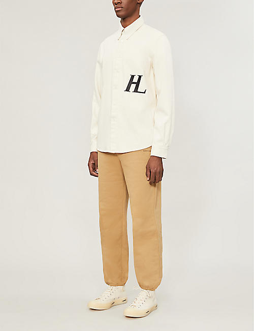 HELMUT LANG Logo-embroidered cotton-twill shirt