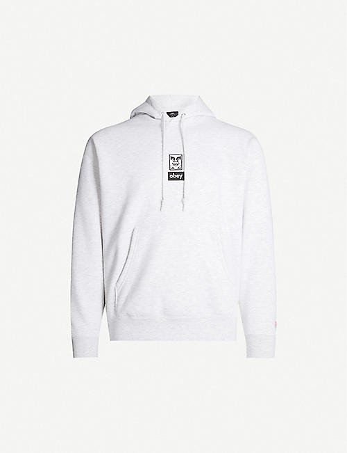 OBEY Icon face print cotton-jersey hoodie