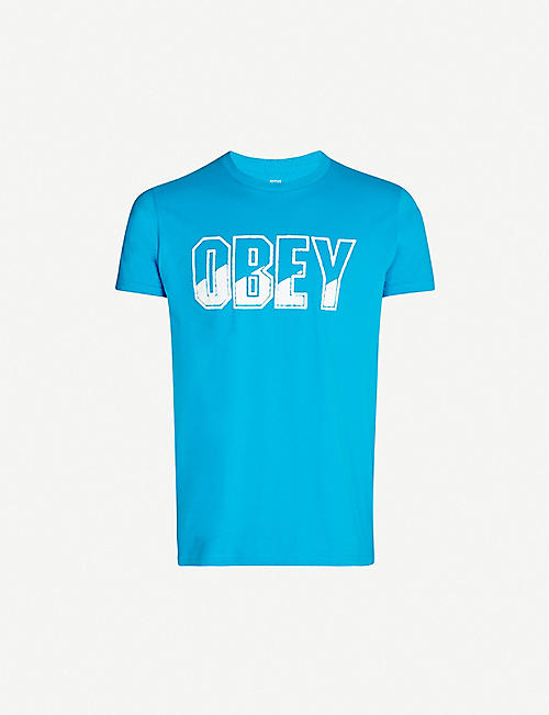 OBEY Block Buster logo-print cotton-jersey T-shirt