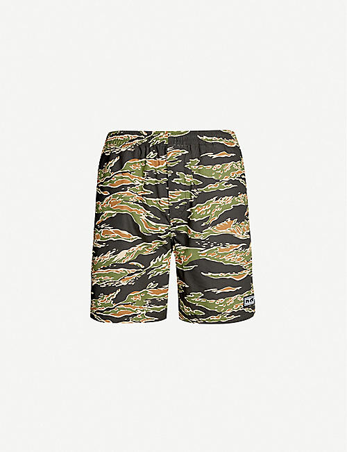 OBEY Easy Jungle camouflage-print relaxed-fit cotton-jersey shorts