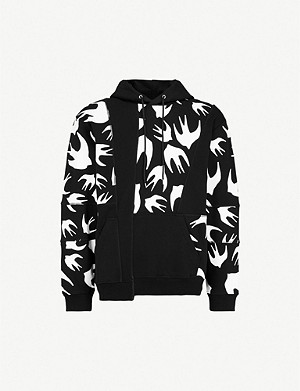 MCQ ALEXANDER MCQUEEN Inverted swallow-print cotton-jersey hoody