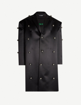 RAF SIMONS Oversized studded wool and silk-blend coat