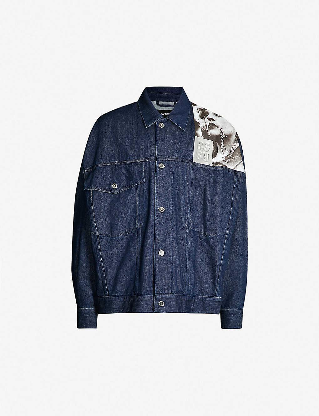 7629941d832 Graphic-print oversized denim jacket - Dark navy ...