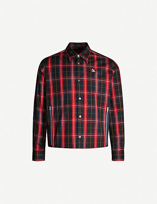 UNDERCOVER Graphic-print checked cotton overshirt