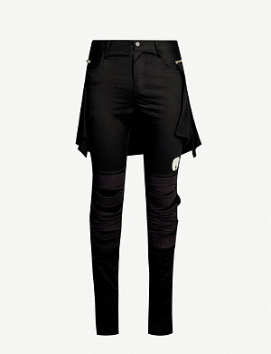 UNDERCOVER Waist-attachment ripped cotton-blend jogging bottoms
