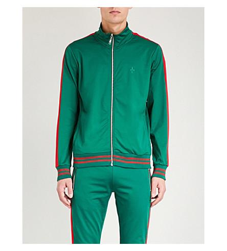 CRIMINAL DAMAGE Track Jacket In Green With Red Side Stripe - Green