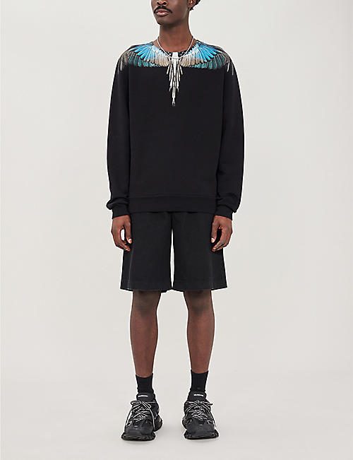 MARCELO BURLON Wing-print cotton-jersey sweatshirt