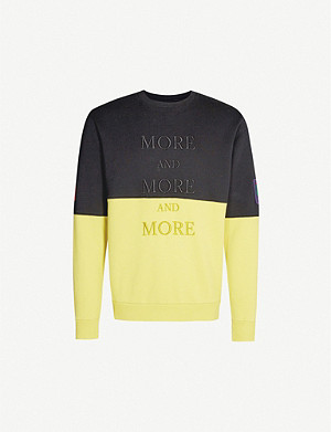 MARCELO BURLON Slogan-embroidered cotton-jersey sweatshirt