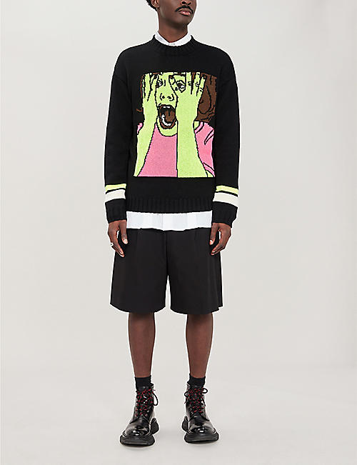 MARCELO BURLON Scared Face wool-blend jumper