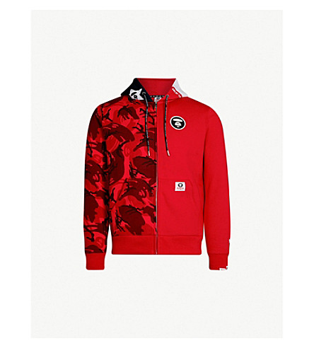 AAPE Camouflage-print cotton-jersey hoody (Red 09ee9b9658fd