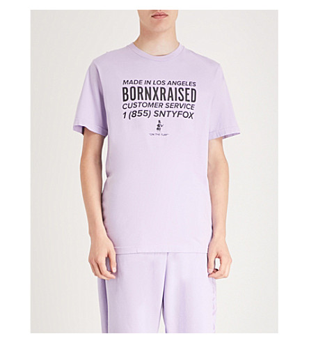BORN X RAISED 1(855) Sntyfox Cotton-Jersey T-Shirt in Lavender