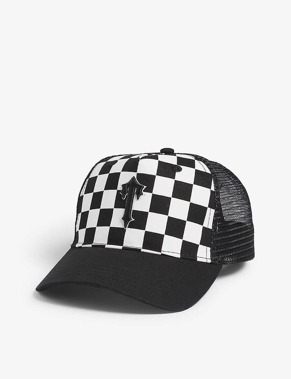 697b2095d3639 Checkered mesh snapback cap - Black white ...
