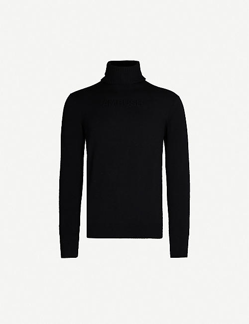 AMBUSH Logo-embossed turtleneck wool-blend jumper
