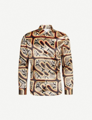 SSS WORLD CORP Regular-fit snake-print satin shirt