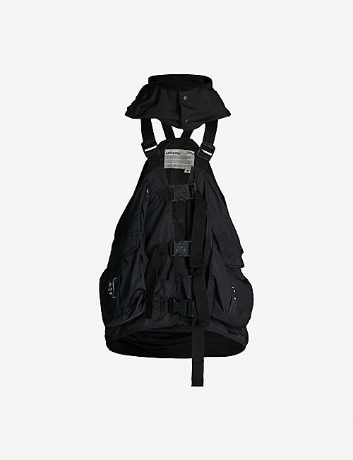 A-COLD-WALL Hooded patch-pocket shell gilet-backpack