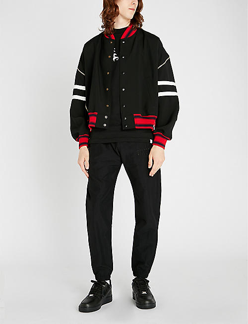 FACETASM Striped oversized wool bomber jacket
