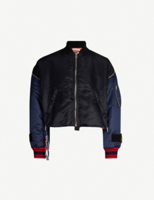 FACETASM Colour-blocked cropped satin bomber jacket