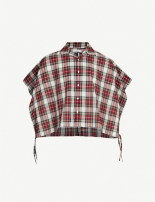 FACETASM Checked cropped oversized wool-blend shirt