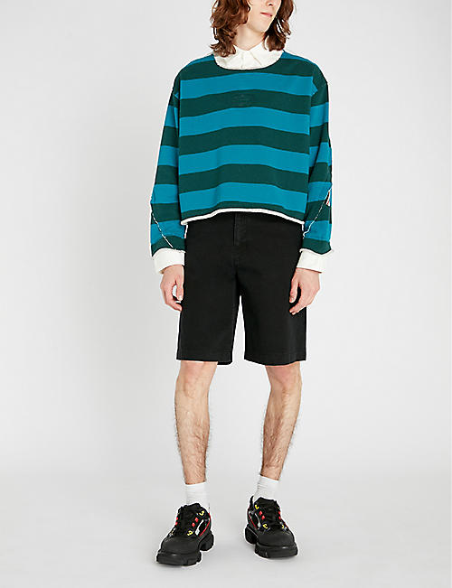 FACETASM Colour-blocked striped cotton-jersey sweatshirt