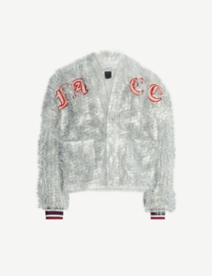 FACETASM Logo-appliquéd tinselled varsity jacket