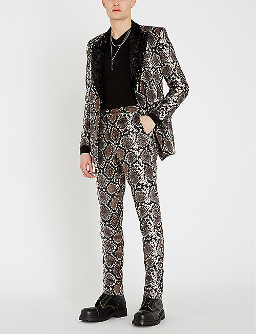 SSS WORLD CORP Snake-print tailored-fit straight velvet trousers