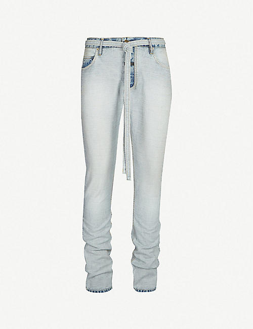 434ffc5b38899 FEAR OF GOD Belted faded regular-fit tapered jeans