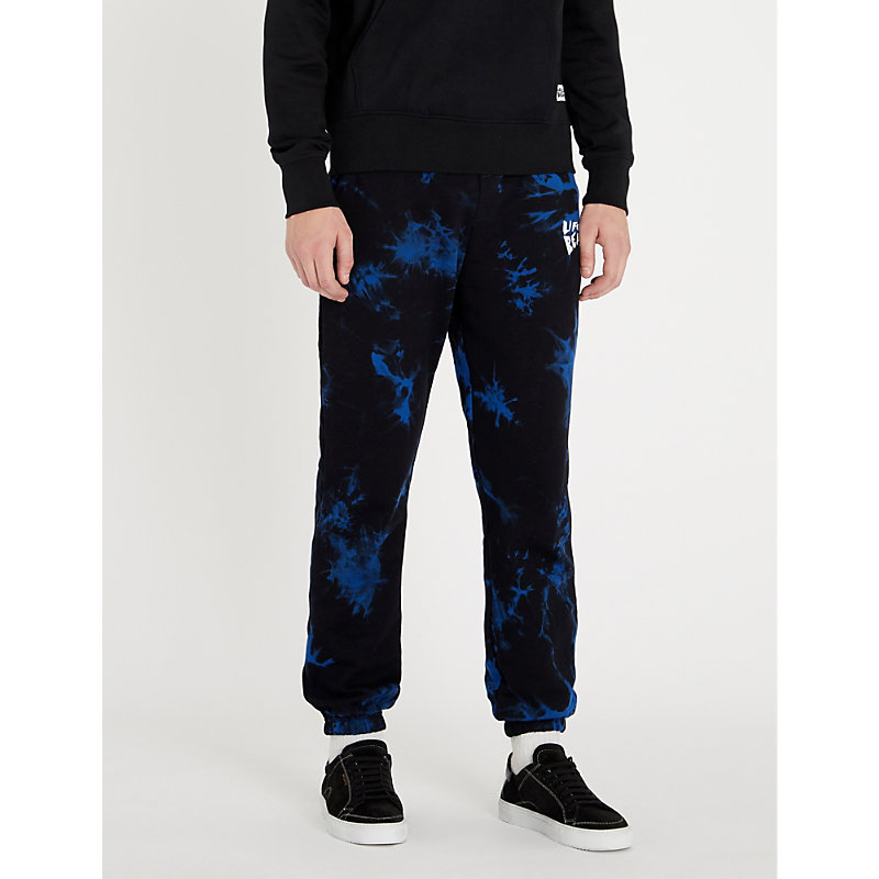 LIFES A BEACH Tie-Dye Cotton-Jersey Jogging Bottoms in Blue