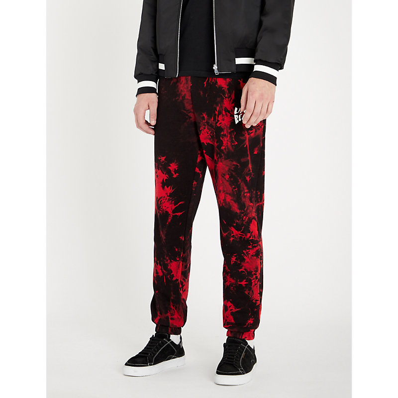 LIFES A BEACH Tie-Dye Cotton-Jersey Jogging Bottoms in Red