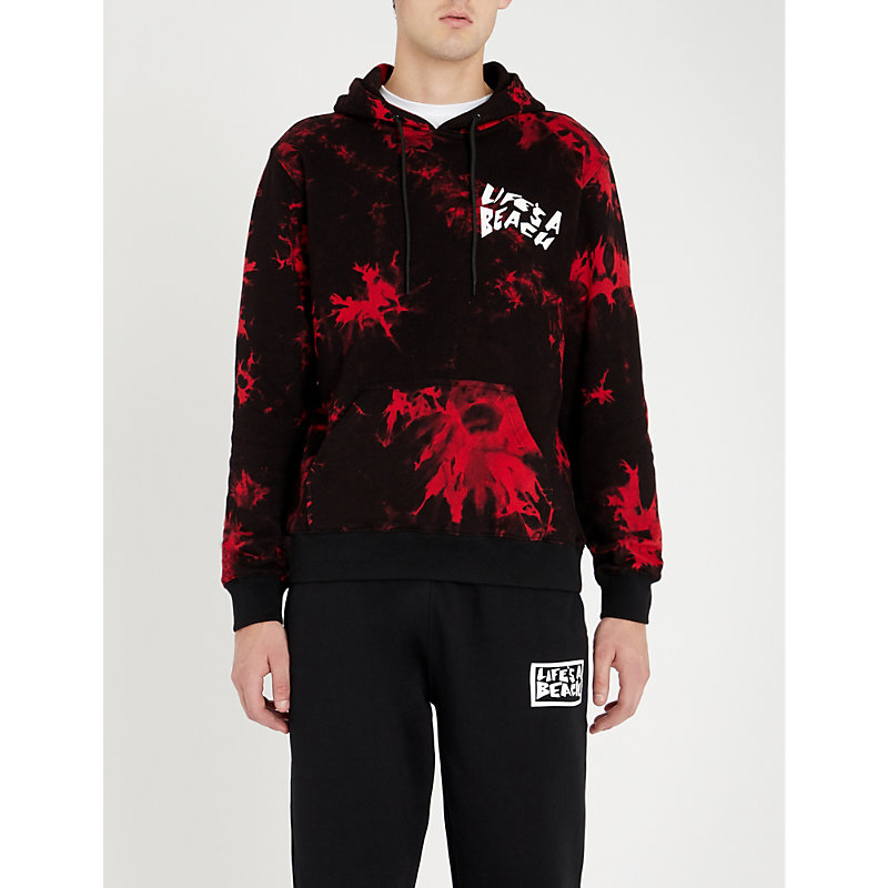 LIFES A BEACH Tie-Dye Cotton-Jersey Hoody in Red