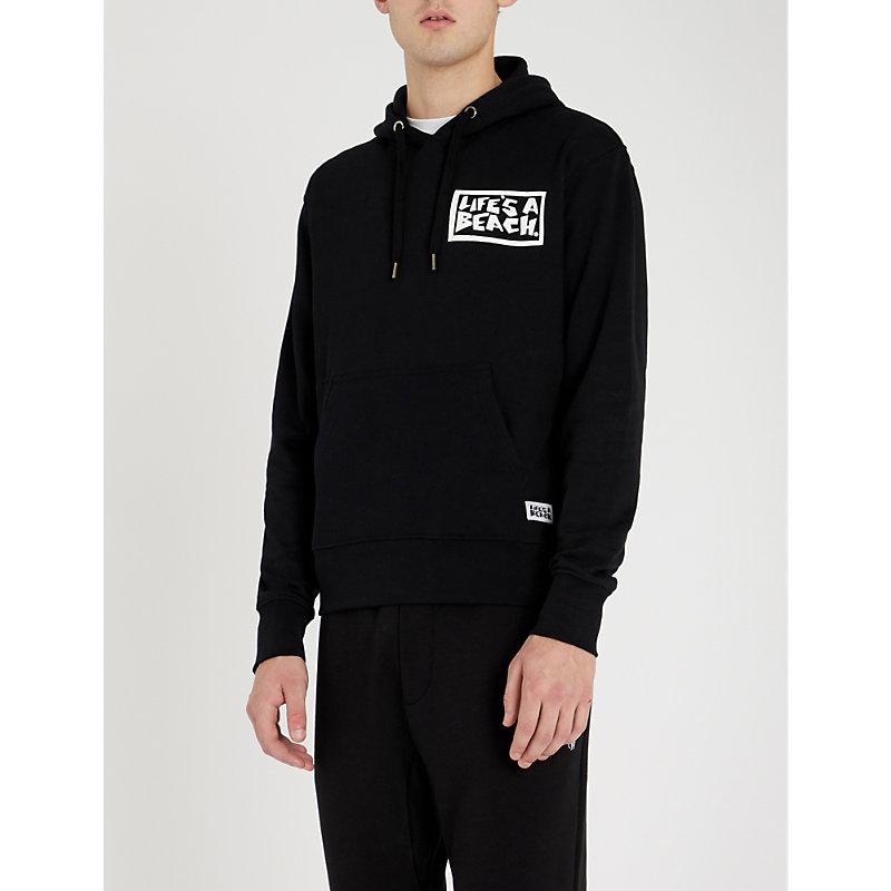 LIFES A BEACH Logo-Print Cotton-Jersey Hoody in Black