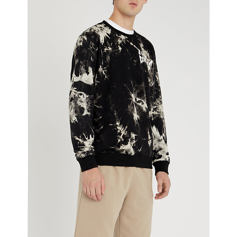 LIFES A BEACH Tie-Dye Cotton-Jersey Sweatshirt in Black