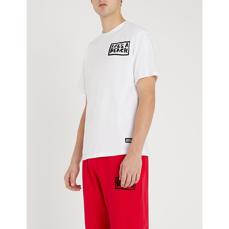 LIFES A BEACH Graphic-Back Cotton-Jersey T-Shirt in White