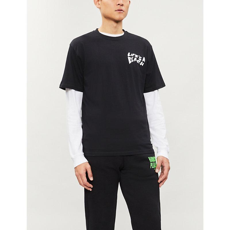 LIFES A BEACH Logo-Print Cotton-Jersey Sweatshirt in Black