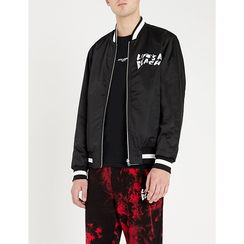LIFES A BEACH Reversible Graphic-Print Satin Bomber Jacket in Black