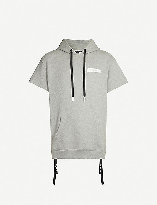 HACULLA Frayed-cuffs branded-print cotton-jersey hoody