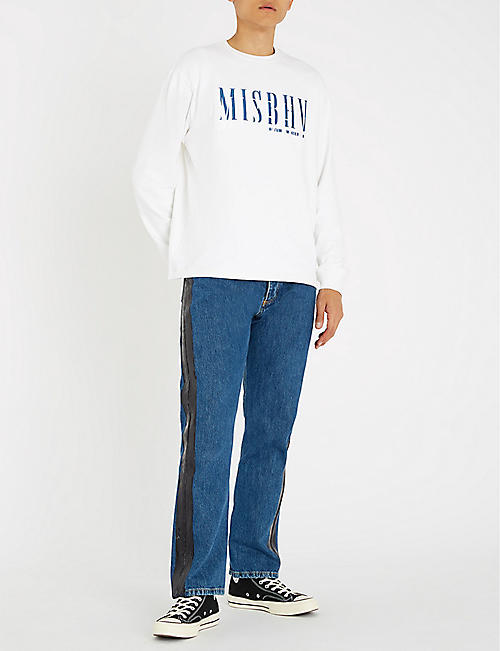 MISBHV Regular-fit patent-trim denim jeans
