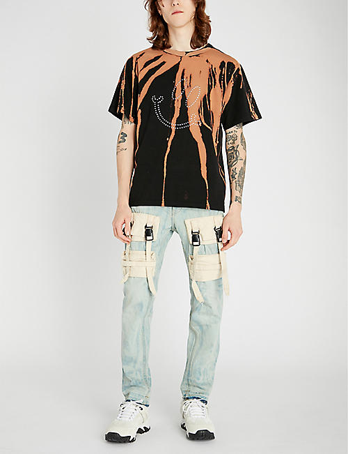 MISBHV Bleached crystal-embellished cotton-jersey T-shirt