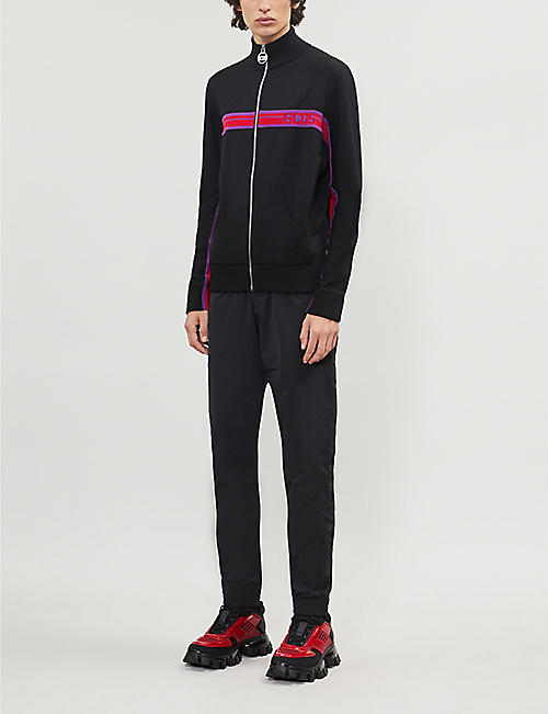 GCDS Branded-stripe funnel-neck stretch-knit jacket