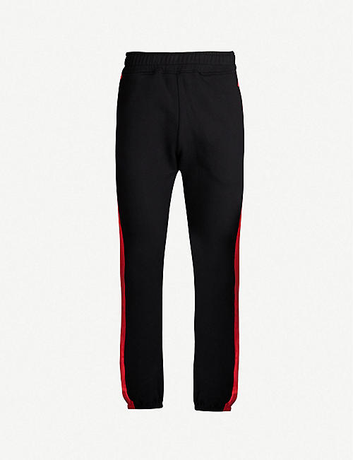 RESORT CORPS Side-stripe cotton-jersey jogging bottoms