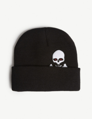 RESORT CORPS Skull and cross-bones knitted cotton beanie