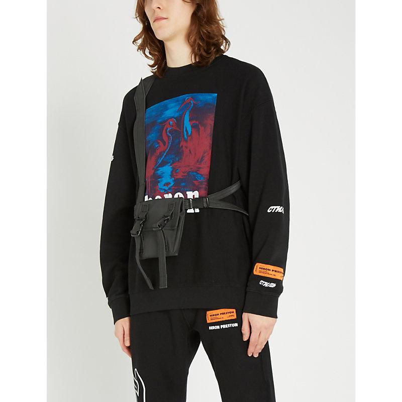 fe882e5dc456 Heron Preston Heron-Print Cotton-Jersey Sweatshirt In Black Multi ...
