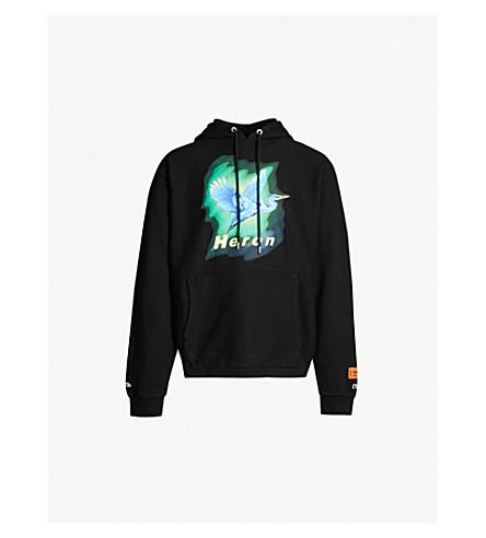84a1e1375d13 HERON PRESTON Heron-print cotton-jersey hoody (Black+blue