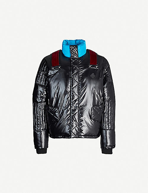 NICOMEDE PUFFA Velvet trim padded shell jacket