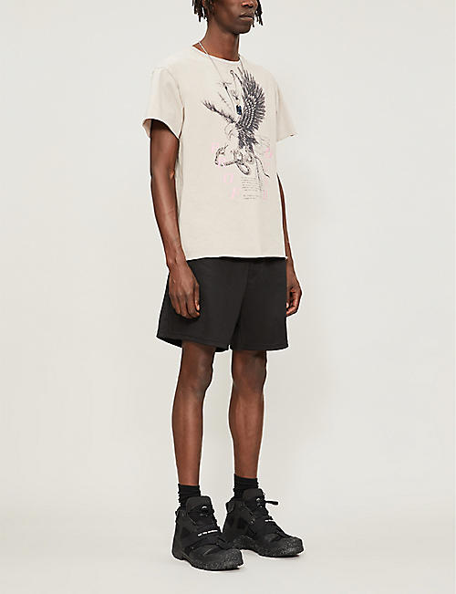 PROFOUND AESTHETIC Eagle Snake raw-hem cotton-jersey T-shirt