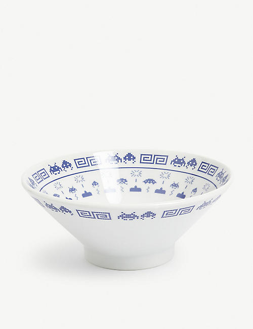 FABRICK Space Invaders ceramic ramen bowl