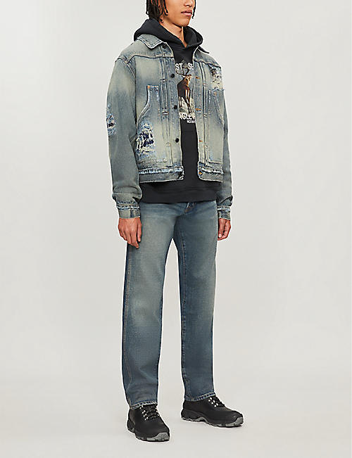 REESE COOPER Ripped faded denim jacket