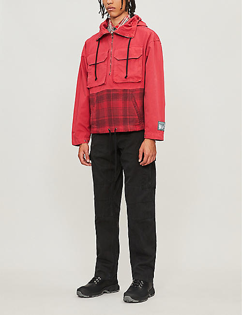 REESE COOPER Checked shell and cotton-flannel hooded jacket