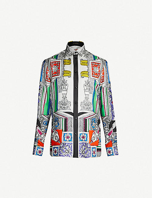 0ce73716c VERSACE Vase-print regular-fit silk-twill shirt