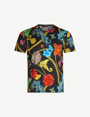 VERSACE Flower and chain-print cotton-jersey T-shirt