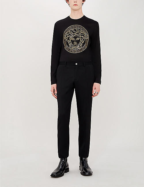 VERSACE Logo-studded cotton-jersey top